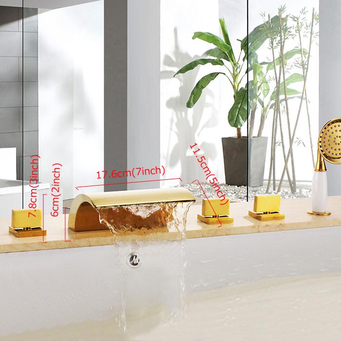 Rétro Ti-PVD 5 Trous Trois Poignées Robinet de baignoire avec douchette