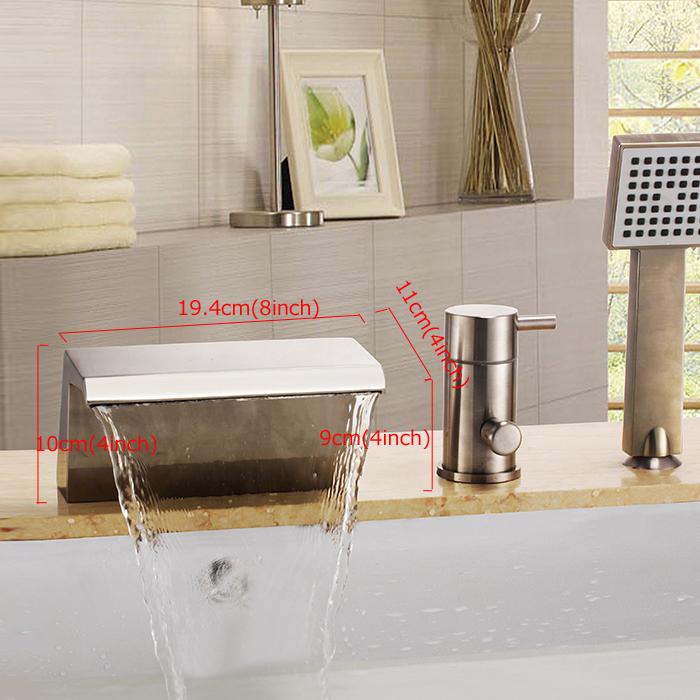 Moderne Nickel 3 Trous 1 Poignée Robinet de baignoire avec douchette