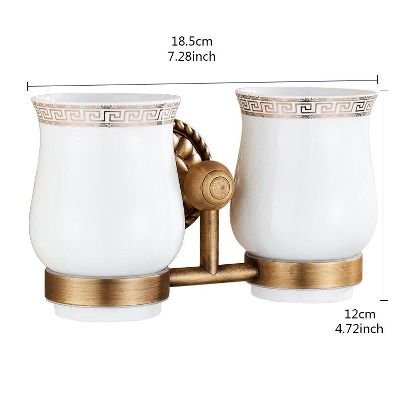 porte brosses dents 2 tasses en laiton noir pour salle de bain style r tro. Black Bedroom Furniture Sets. Home Design Ideas